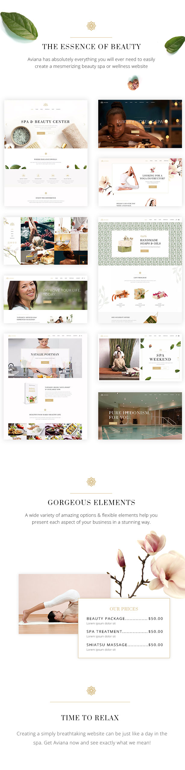 WordPress theme Aviana - An Elegant Lifestyle and Wellness Theme (Health & Beauty)
